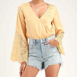 Lulus Promising Penny Satin Long Sleeve Bodysuit
